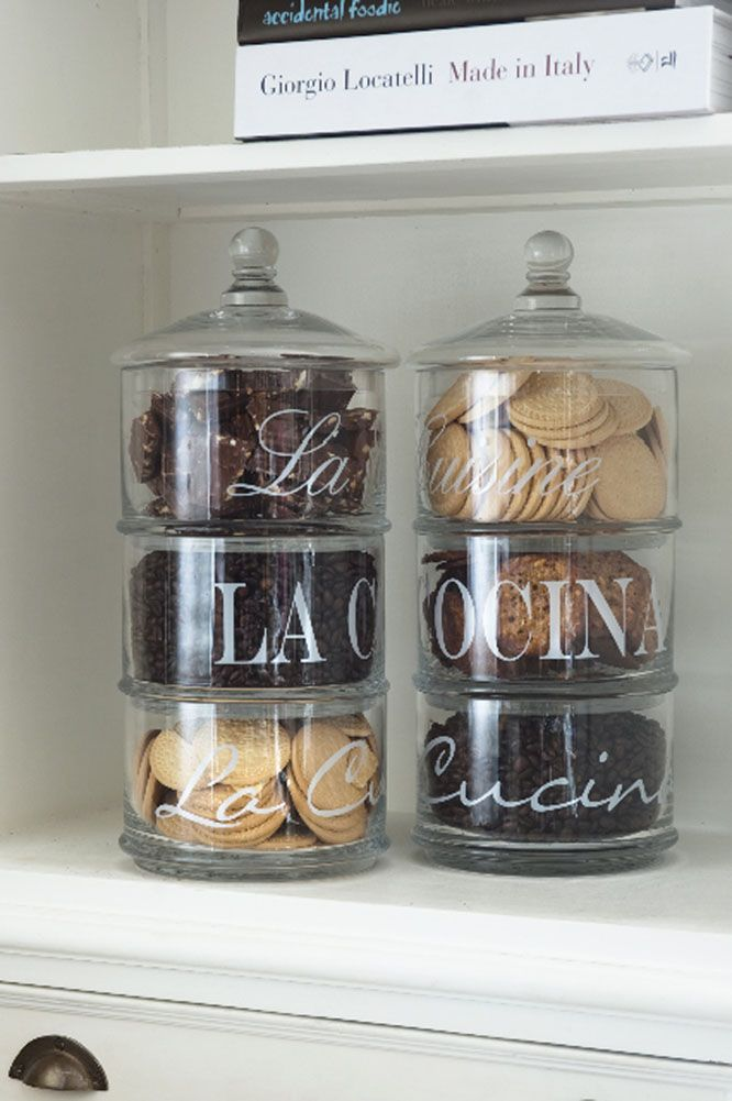 stacked glass storage jars