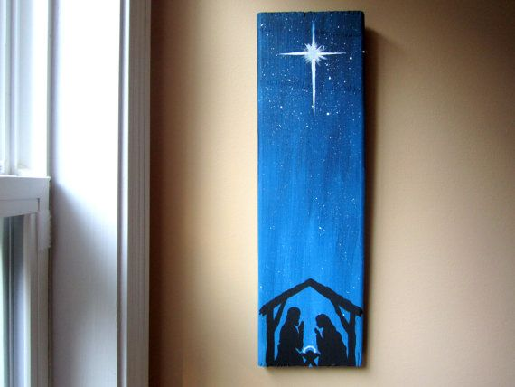Hand Painted the sky. Use vinyl for the Nativity scene. Or silk