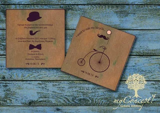 #littleman and #antiquebicycle #invitation for a #baptism