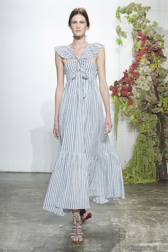 Lovely linen striped maxi, runway chic spring 2017