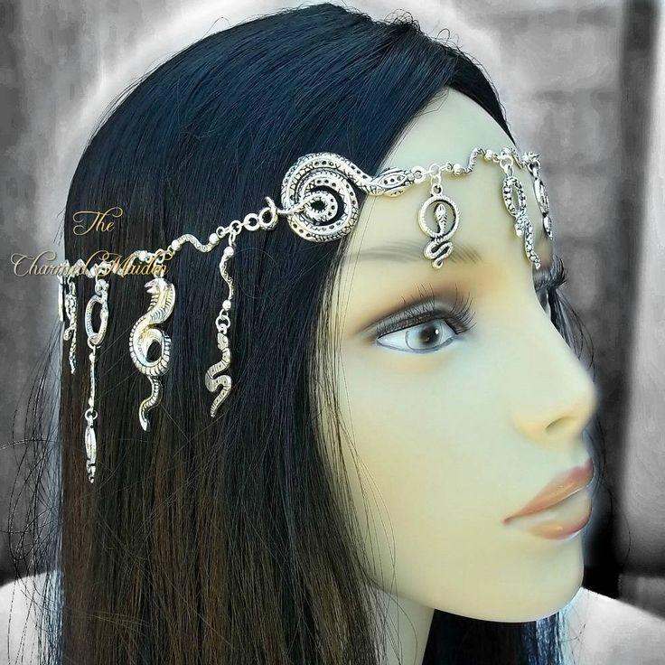 Medusa Snake Headdress Silver Snake Head Chain Pagan Serpent