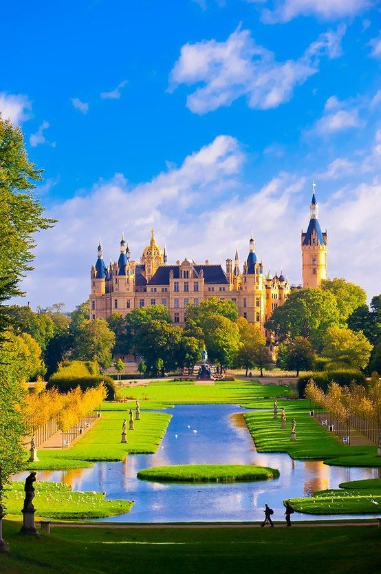 Schwerin Castle is a palatial schloss located in the city of Schwerin, the capital of Mecklenburg-Vorpommern state, Germany. It is situated on an island in the city's main lake.