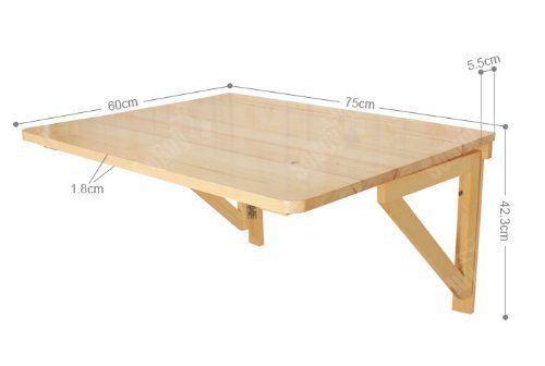 SoBuy® FWT031-N Bureau Table murale rabattables, Table de cuisine pliante, Table à rabat pour enfant pliable en bambou (L60cm x P40cm - 1 chambrière- Rectangulaire, Transparent)