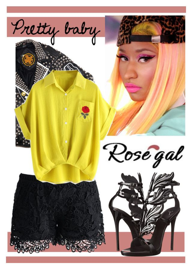 """Pretty baby"" by andrea-pok ❤ liked on Polyvore featuring Nicki Minaj, Hazmat Design, Chicwish and Giuseppe Zanotti"