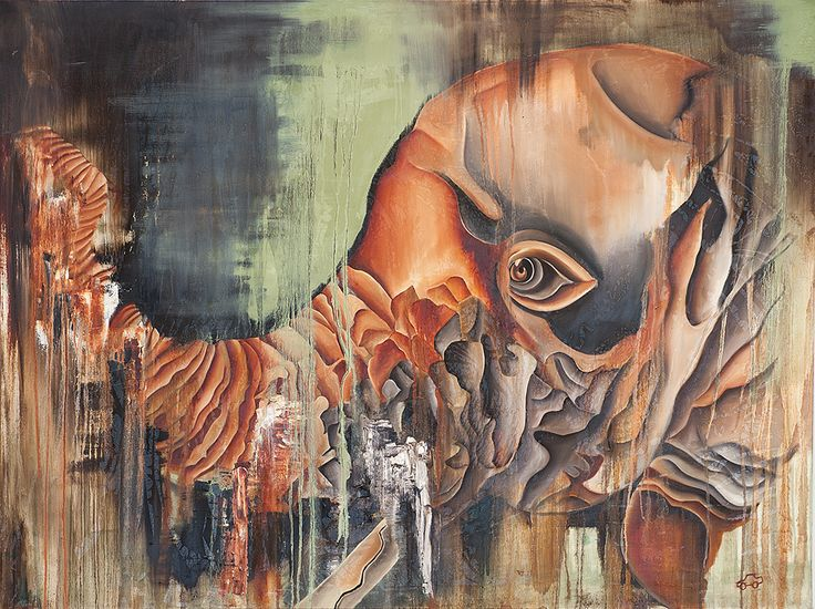 """'Red November' by George Keaton (ORIGINAL)  • Charcoal, oils & green tea • 36"""" x 48"""" stretched canvas • Abstract fine art painting of an Elephant   (Limited edition signed prints also available)  SHIPPING: This painting can be packaged and shipped within the U.S. for a flat fee of $300. FREE LOCAL DELIVERY (Chicago   Milwaukee   Madison)  http://www.babynaellakeaton.com"""