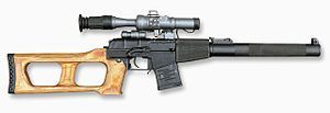 VSS Vintorez  suppressed sniper rifle that uses a heavy subsonic 9×39mm SP5 cartridge and armor-piercing SP6 cartridge.