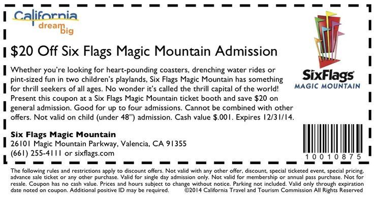 Six Flags Magic Mountain  Hurricane Harbor Coupon http://www.visitcalifornia.com/Fun-Spots/Six-Flags-Magic-Mountain/