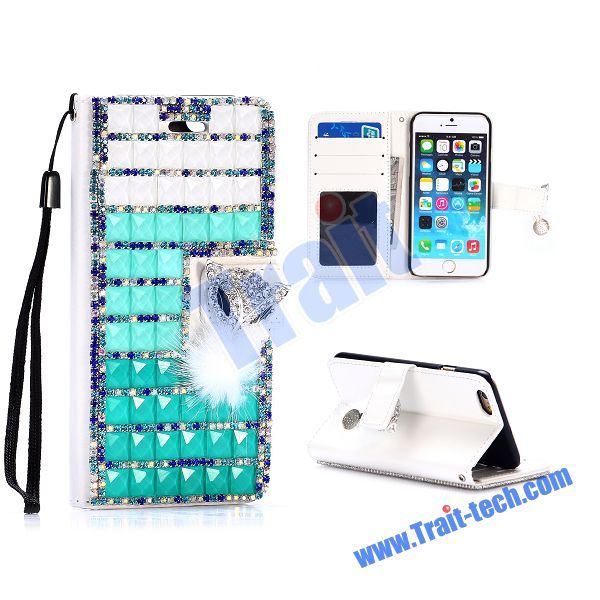 Rhinestone Cute Fox Diamond Magnetic Wallet Style Flip Stand PC + PU Leather Case for iPhone 6 4.7 inch (White+Green)