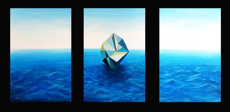 """Cristal"" Acrílico sobre tela 120 x 60 Cms. 2017. Trìptico."