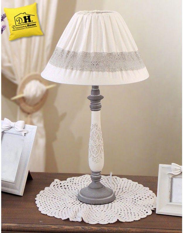 Lampada Shabby Chic Angelica Home & Country Colore Bianco con Pizzo Altezza 54 cm