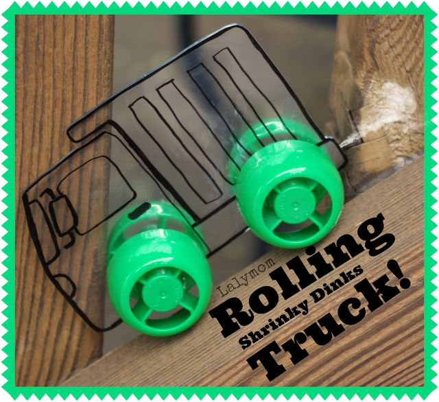 DIY Rolling Truck and Car Toys - use plastic takeout boxes for shrinky dink material.