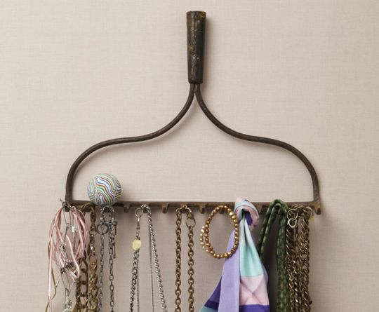 we already have a broken rake.  Great idea for mud room to hang leashes OR in barn to hang tack