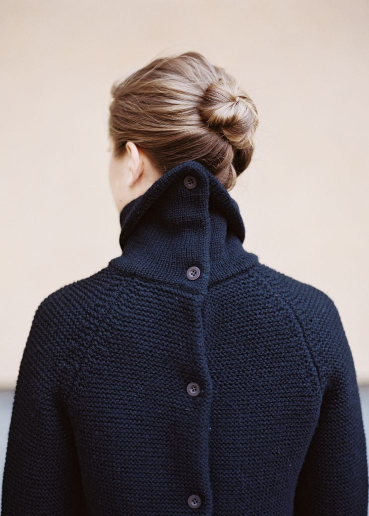 Navy blue sweater with buttons up the back. This is my ideal sweater!