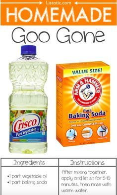 Homemade Goo-Gone smells better and is cheaper and less toxic than the store-bought. 1 part vegetable oil plus 1 part baking soda. Mix, apply, let sit for 5-10 minutes before rinsing with warm water. Removes sticky labels and other sticky gunk.
