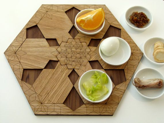 An original gift for Passover - an innovative 2 in 1 set: a wooden Seder plate, with white ceramic bowls and a set of 6 pomegranate shaped