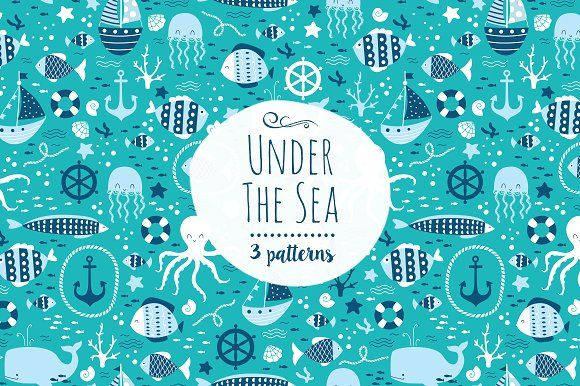 """Under The Sea"" pattern set by Inna Moreva on @creativemarket Perfect for product design, gift wrapping, crafts, room decor, invitations, greeting cards, tags, labels and so much more. **Affiliate Link**"