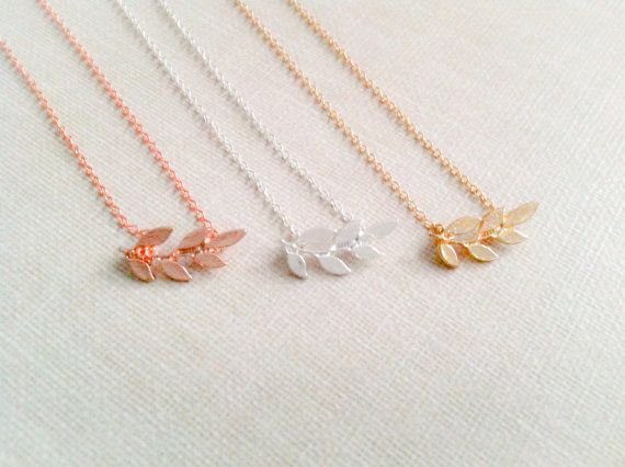 Leaf+necklace+laurel+necklace+in+gold+silver+or+rose+by+TheMintFox