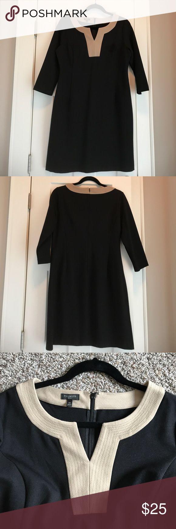Talbots petite black dress Black and khaki dress with 3/4 sleeves. Thick material  62% Rayon 32% Nylon 5% Spandex. Zipper up the back. Talbots Dresses