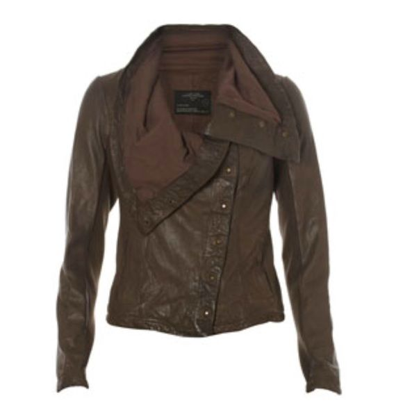 Host PickSale,All Saints brown leather jacket. Super popular leather jacket by All Saints.  Worn by Katy Perry and many other celebrities and favorited by many bloggers.  Very hard to find.  In perfect condition.  Size is European 6 but fits like a USA size 2/XS. All Saints Jackets & Coats