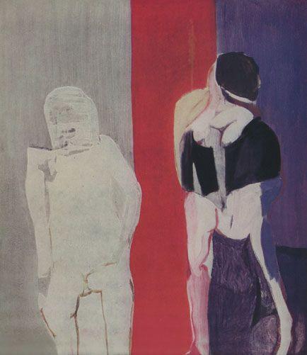 """Teresa Pągowska """"Czwarty"""", 1967, olej, tempera na płótnie, wymiary 150,5x130,5 cm"""