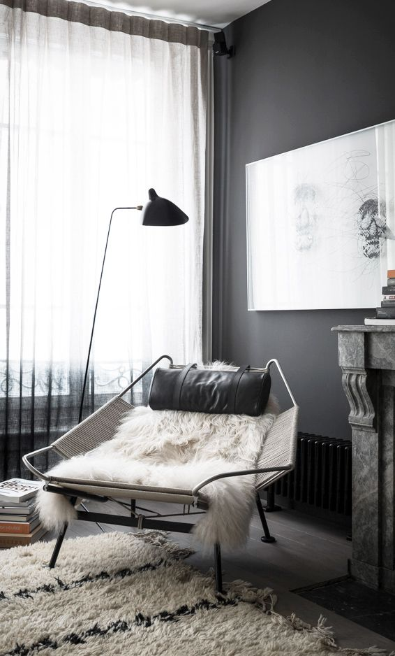 = black, chair and fur = the black apartment = 79 ideas