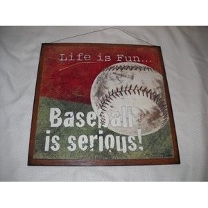 Lifes A Game Baseball Is Serious Boys Sports Bedroom Wooden Wall Art Sign