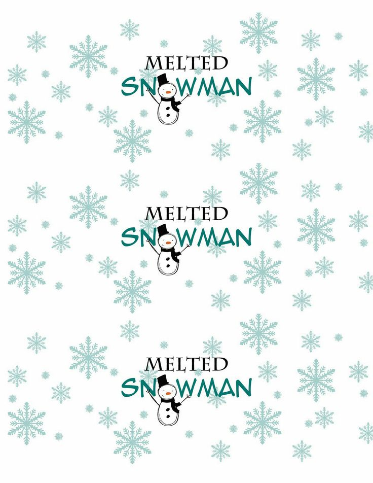 Melted snowman water bottle label, just want kids to write name- color ...
