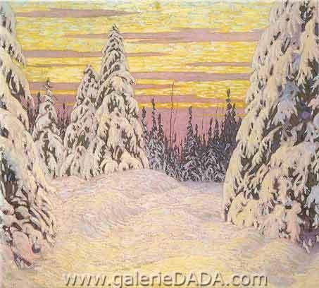 Lawren Harris,  Spruce and Snow Nothern Ontario Fine Art Reproduction Oil Painting