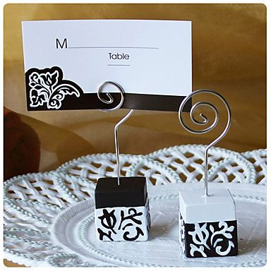 black and white damask design place card holders wedding party favors http