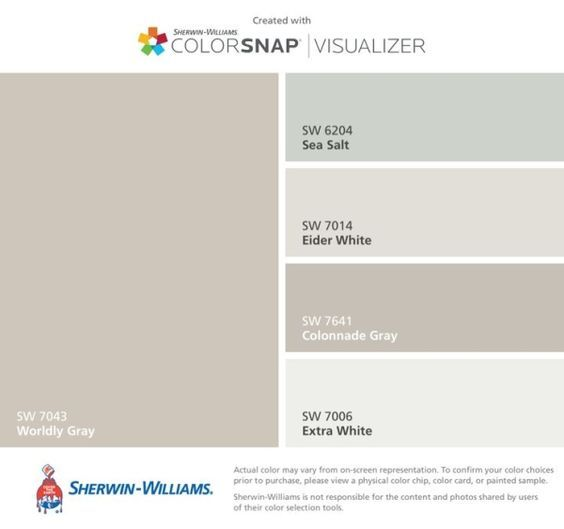 I found these colors with ColorSnap® Visualizer for iPhone by Sherwin-Williams: Worldly Gray (SW 7043), Sea Salt (SW 6204), Eider White (SW 7014), Colonnade Gray (SW 7641), Extra White (SW 7006). by rebecca2
