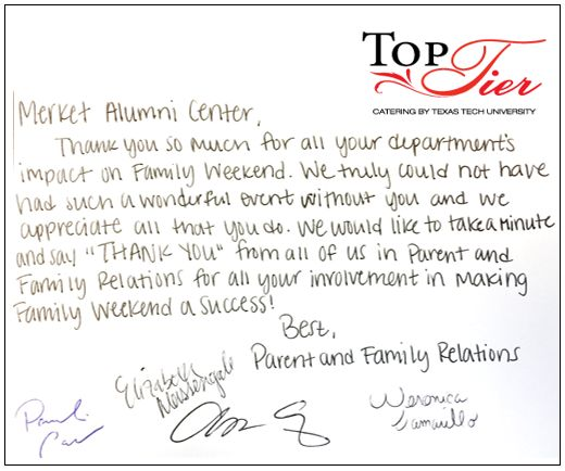 Gamma Beta Phi Hand Wrote A Thank You Note To Suzanne And Kym