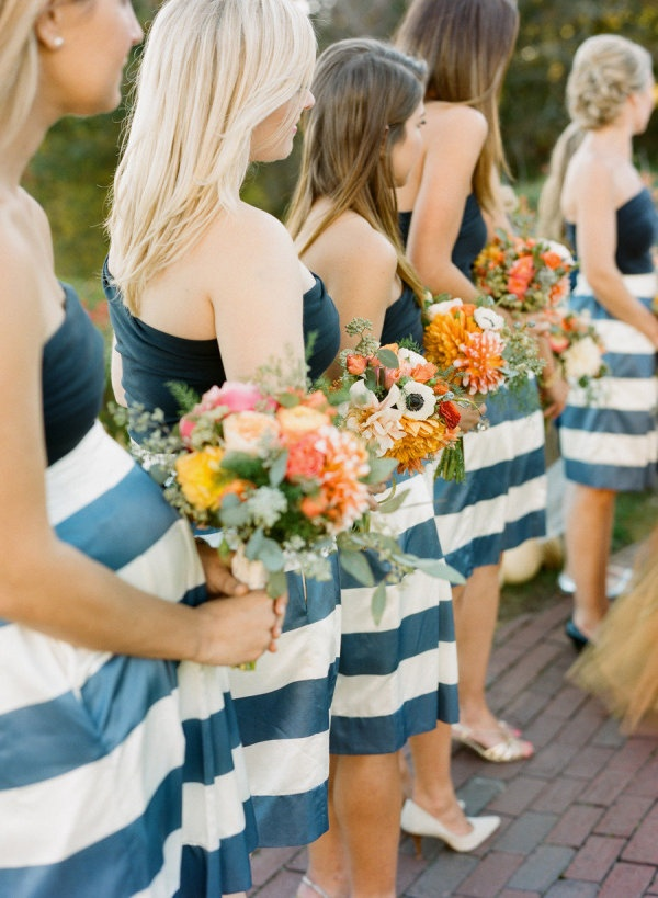 Pretty & Preppy Bridesmaids in stripes Photography By / staceyhedman.com, Planning, Styling   Floral Design By / lovelylittledetails.com