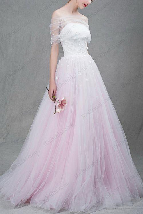 Colored wedding dresses sparkly purple blue blush pink for Unique colorful wedding dresses