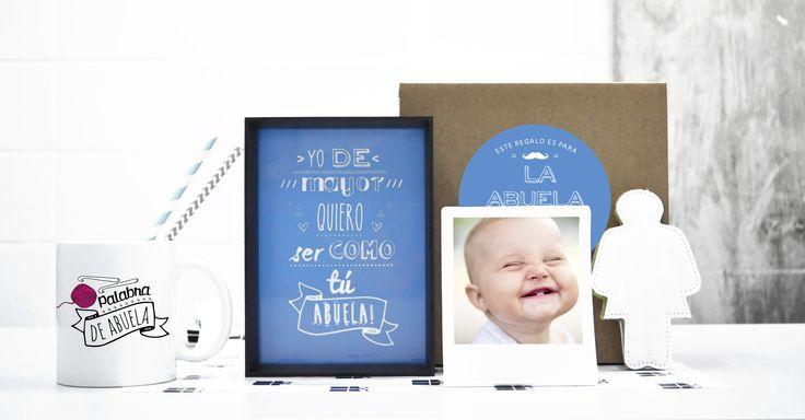 Palabra de abuela Pack compuesto por lámina enmarcada, taza, set de manicura y marco polaroid para colocar una foto personalizada. Todo ello en una caja kraft con pegatina!