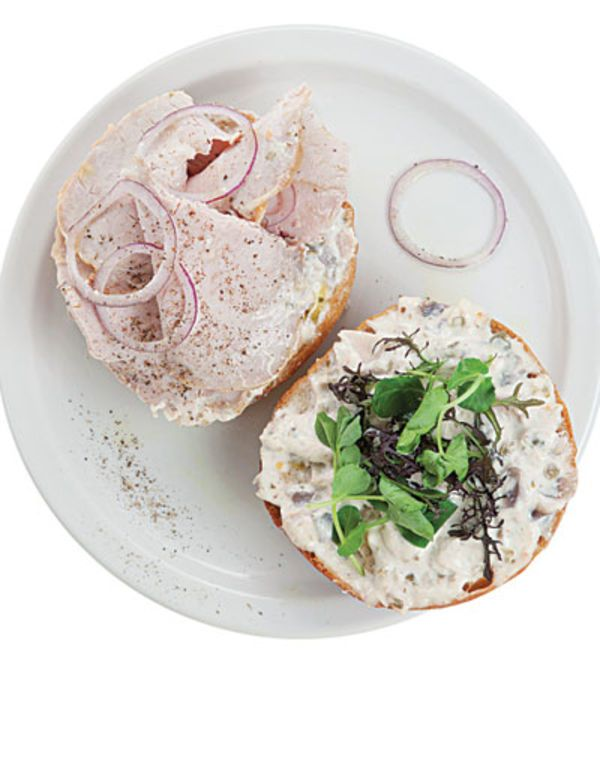 Chef April Bloomfield serves this sandwich with tuna-anchovy mayonnaise on a crusty roll at the John Dory Oyster Bar, in New York City.