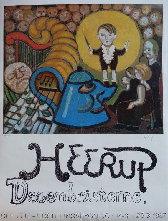 1987 Henry Heerup Exhibition Poster (SIGNED) - Original Vintage Poster