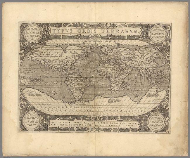 69 000 карт высокого разрешения / Typus Orbis Terrarum. Abraham Ortelius, Jan Baptista Vrients / davidrumsey.com