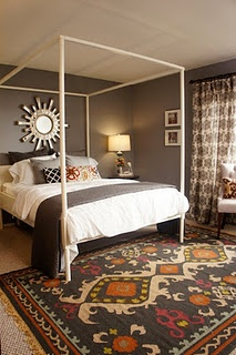 Turquoise : Design Wars for HGTV bedroom... Dark grey walls and sunburst