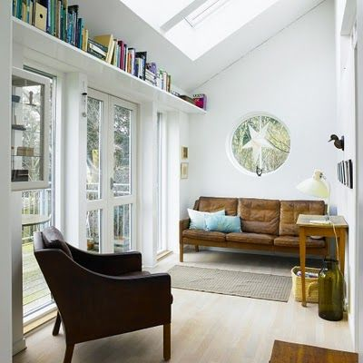 danish home. chair and book shelf love: The Doors, Bookshelves, Living Rooms, Window, Danishes Design, Book Shelves, Bookshelf Ideas, Danishes Modern, Sunroom