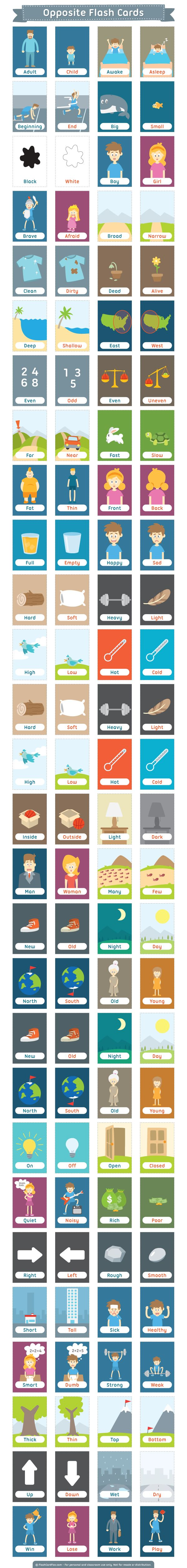 Free printable opposite flash cards. Download them in PDF format at http://flashcardfox.com/download/opposite-flash-cards/