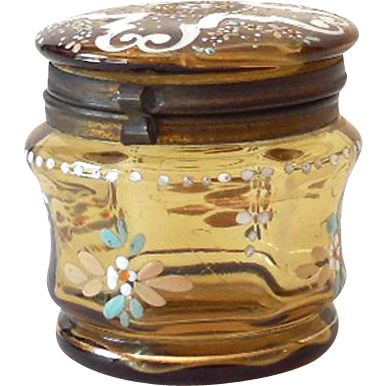 Small Hand Painted Victorian Dresser Jar Amber Glass from californiagirls on Ruby Lane
