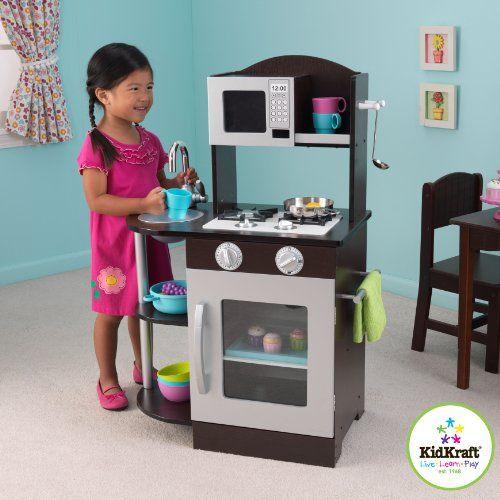 Kidkraft modern espresso silver toddler kitchen kids - Cuisine kidkraft espresso ...