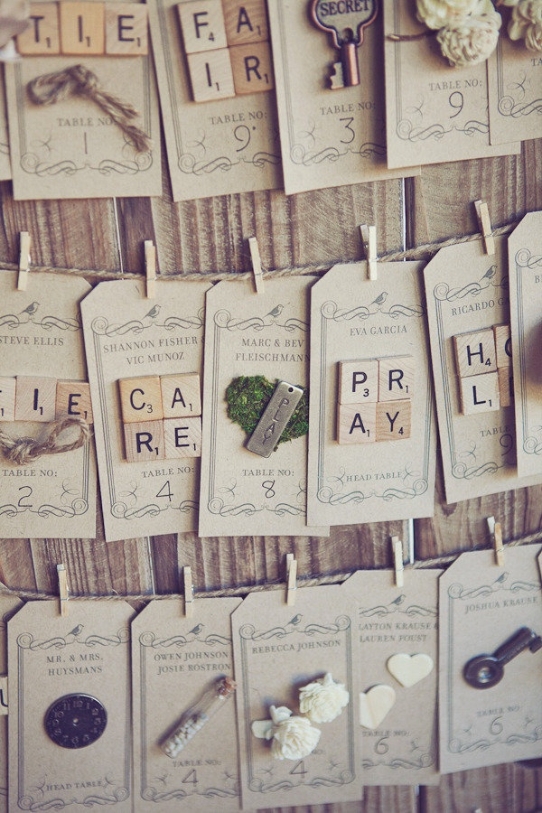escort cards with scrabble tiles