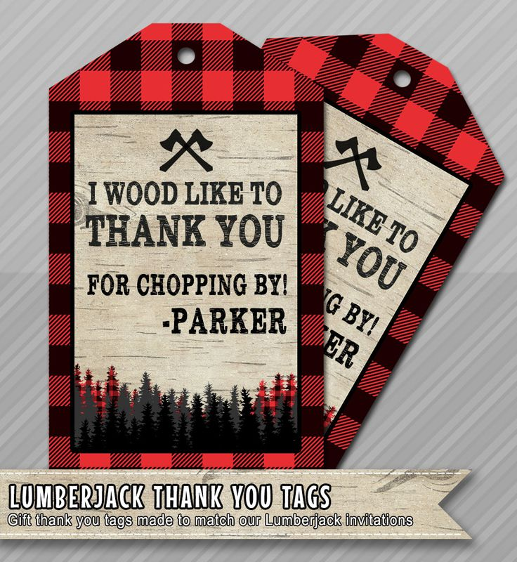 Lumberjack Thank You Favor Tag Card Birthday Digital Printable by #wolcottdesigns on Etsy