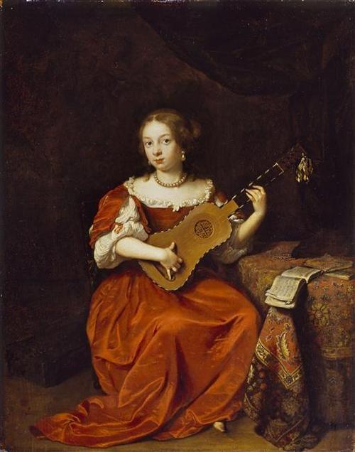 Jeune Femme jouant la guitare, par Caspar Netscher (1639-1684), en 1669