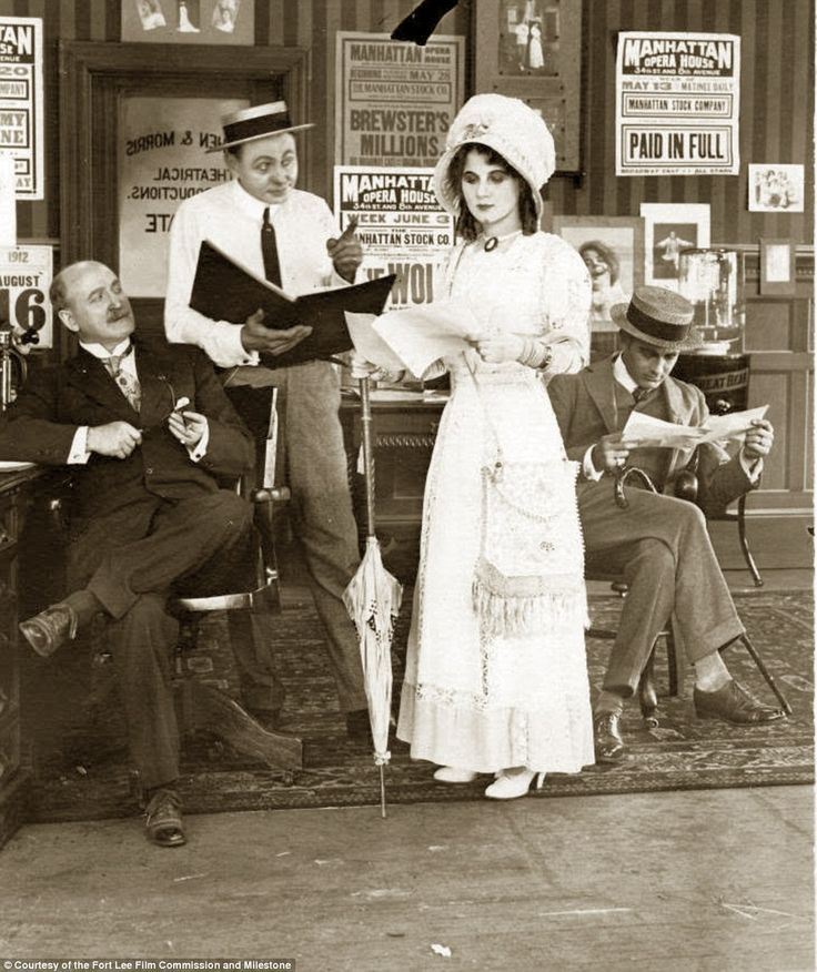 Fort Lee, New Jersey, was the first-ever film town in America in the 1910s, even before Hollywood. At its height, the small New Jersey borough across the Hudson River from upper Manhattan had 11 working studios in close proximity to one another. Pictured is America's first named movie star, Florence Lawrence, on a film set
