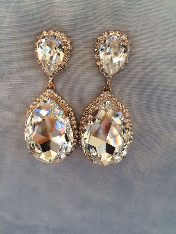 Rose Gold Swarovski Crystal Embellished Teardrop Earrings - product images of