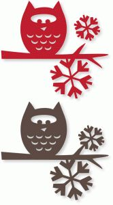 Silhouette Online Store - View Design #53195: owl branch w/snowflakes