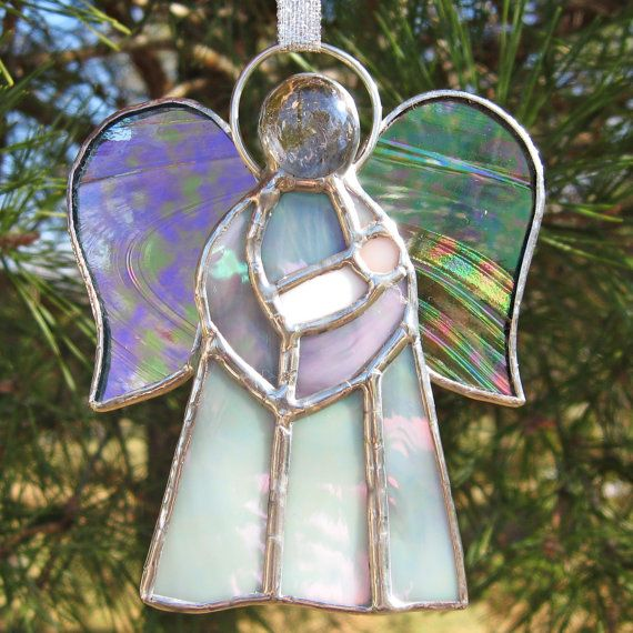 Angel Holding Baby Stained Glass Christmas Holiday Ornament
