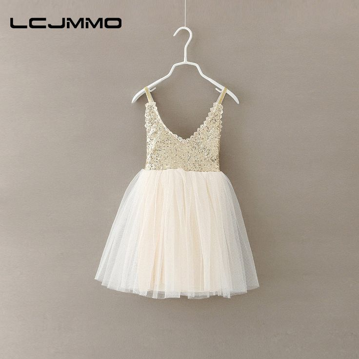 LCJMMO Girls Dress 2017 New Autumn Gold Sequined Lace Sling White Tutu Dresses For Party Wedding Baby vestido Kids Clothing